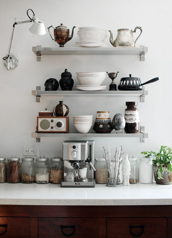 Interior envy open kitchen shelves pardon my french for Kitchen shelves design