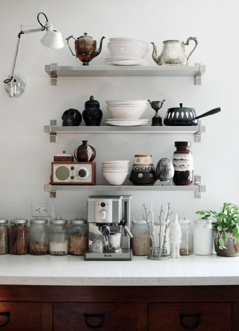 silver and white shelves